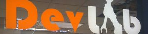 Photo of the Dev Lab logo on the Dev Lab Door
