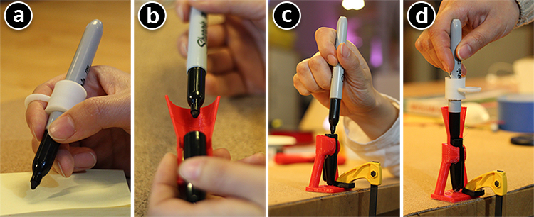 Shows someone placing a pen in a cap with two different types of adaptations.