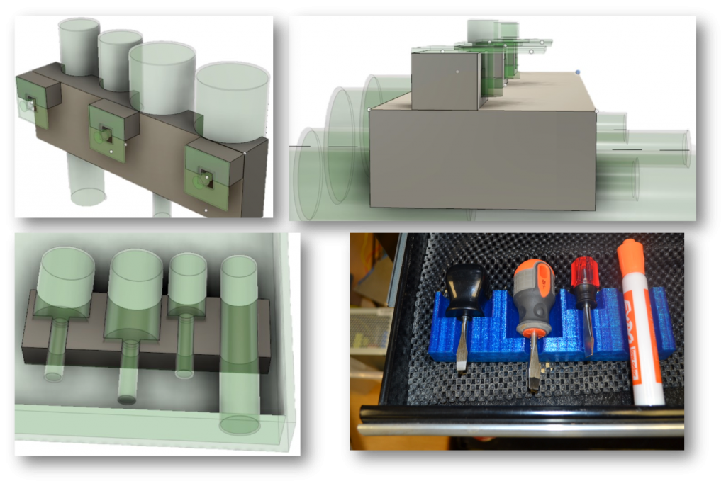 Picture of 3D models and a printout