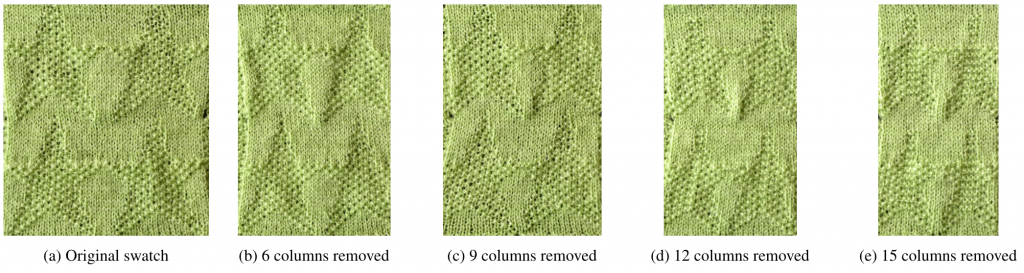 A series of five images, each progressively skinnier than the previous. Each image is a knitted texture with 4 stars on it. They are labeled (a) original swatch (b) 6 columns removed (c) 9 columns removed (d) 12 columns removed (e) 15 columns removed